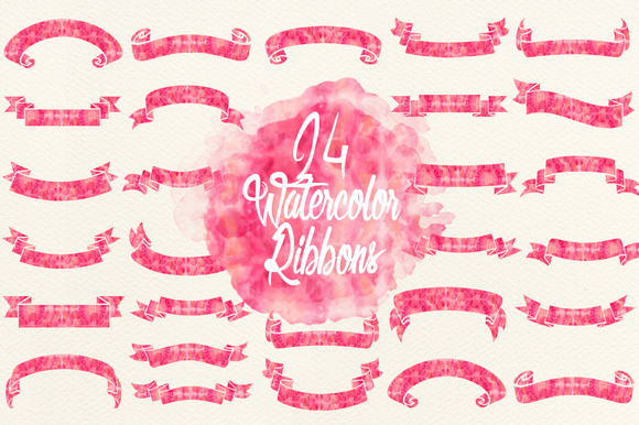 Watercolor Pink Ribbons