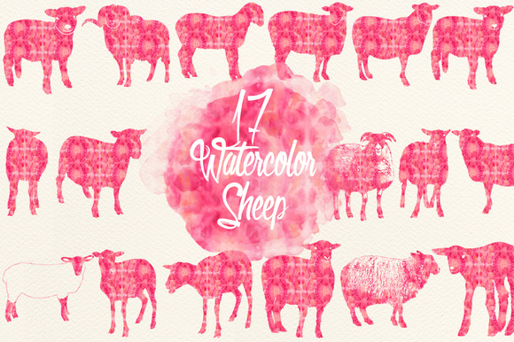 Watercolor Pink Sheep