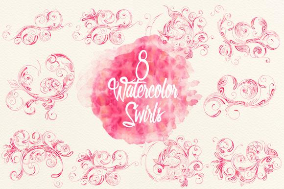 Watercolor Pink Swirls