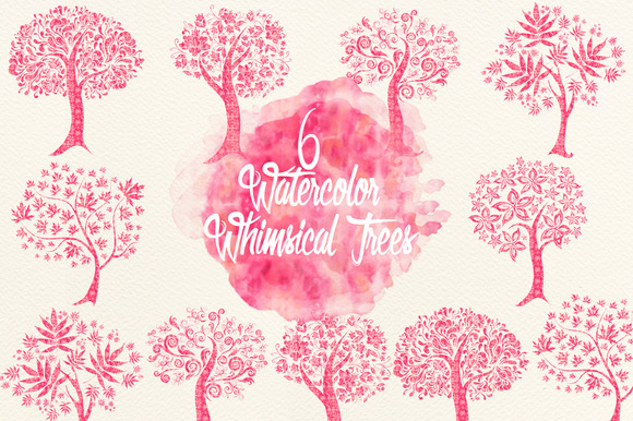 Watercolor Pink Whimsical Trees