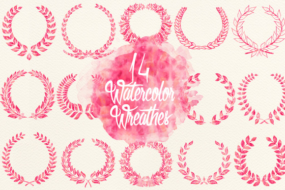 Watercolor Pink Wreathes