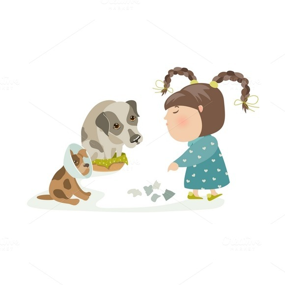 Little Girl Punishing Dogs