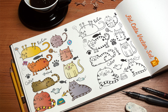 Fat Cats Vector Set