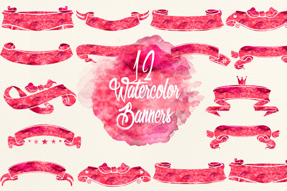 Watercolor Cherry Red Banners