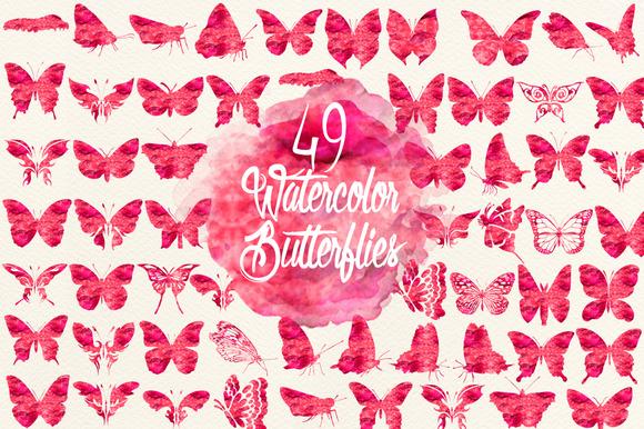Watercolor Cherry Red Butterflies