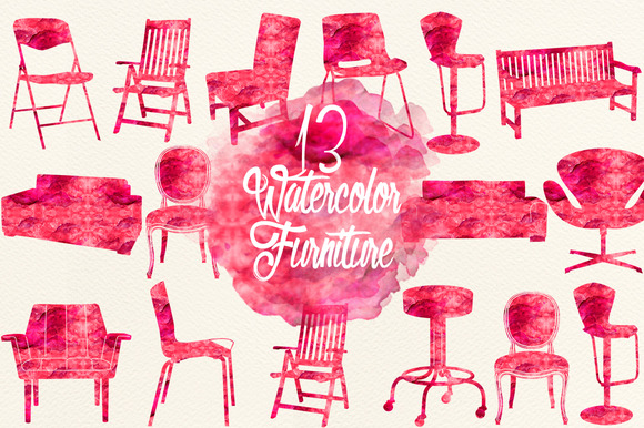 Watercolor Cherry Red Furniture