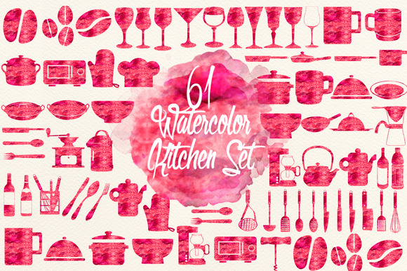 Watercolor Red Cherry Kitchen Set