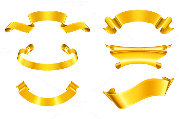 Golden Ribbons Vector Icons
