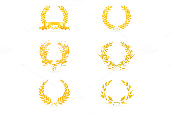 Golden Wreath Vector Icons