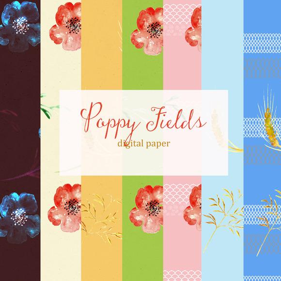 Poppy Fields Digital Paper