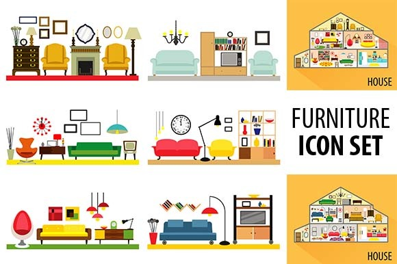 Cartoon Living Rooms With Furniture