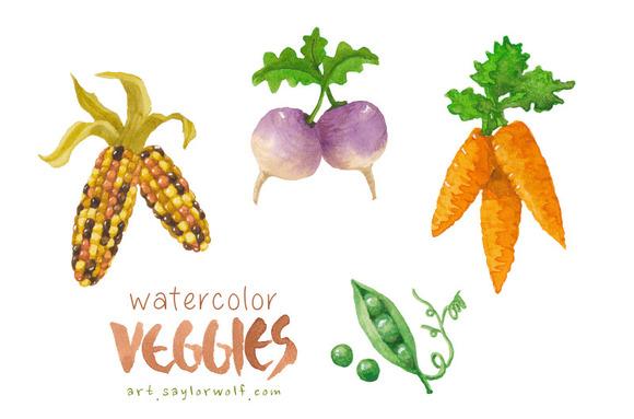 Watercolor Garden Veggie Clipart