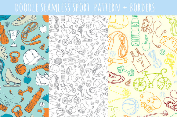 Doodle Seamless Sport Pattern Border