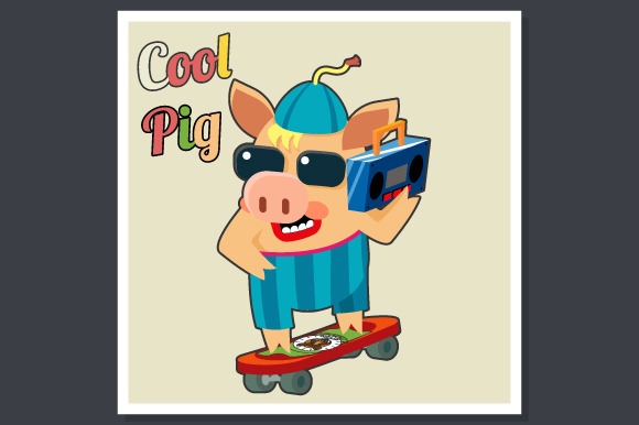 Cool Pig On Skateboard Poster