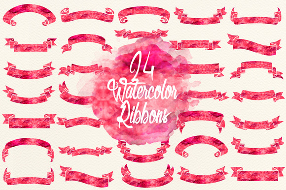 Watercolor Cherry Red Ribbons