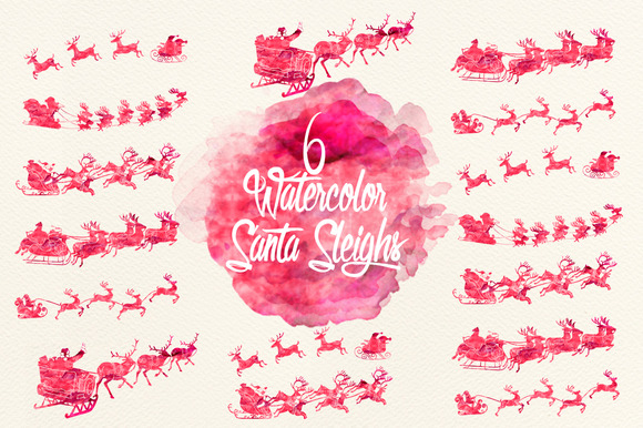 Watercolor Cherry Red Santa Sleighs