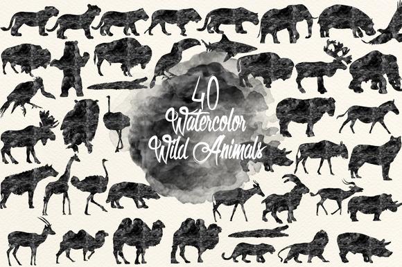 Watercolor Black Animals