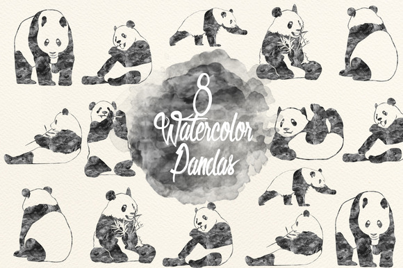 Watercolor Black Pandas