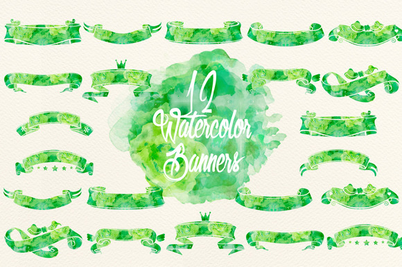 Watercolor Green Banners