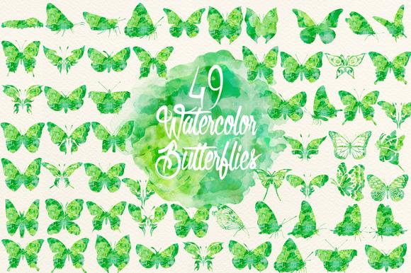 Watercolor Green Butterflies
