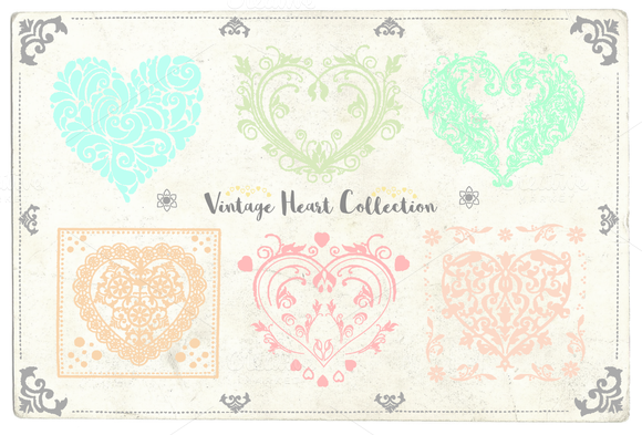 Vintage Vector Heart Collection
