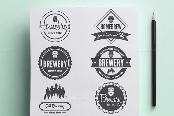 Set Of Vintage Logo For Brewery