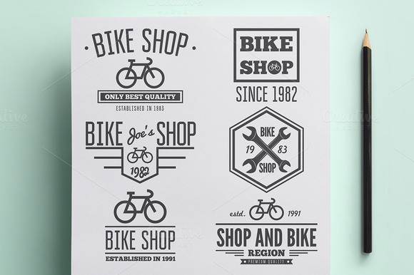 Set Of Vintage Logo For Bike Shop