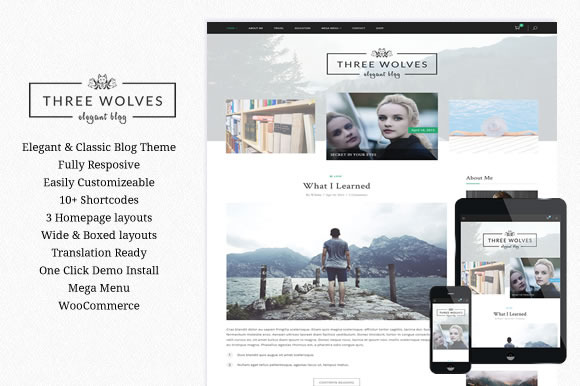 Three Wolves Wordpress Blog Theme