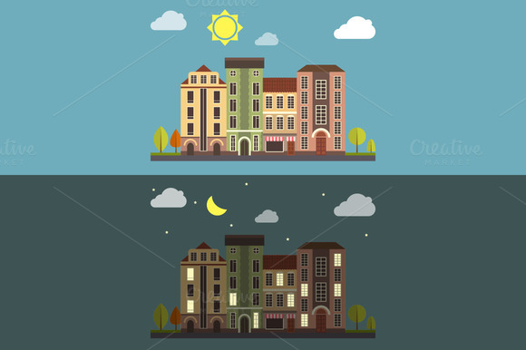 Day And Night Cityscape Vector