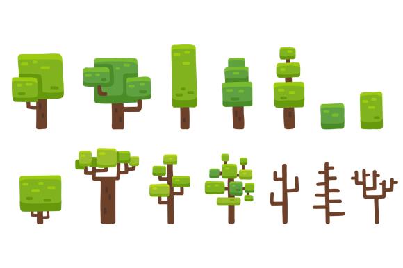 Cartoon Vector Tree Set