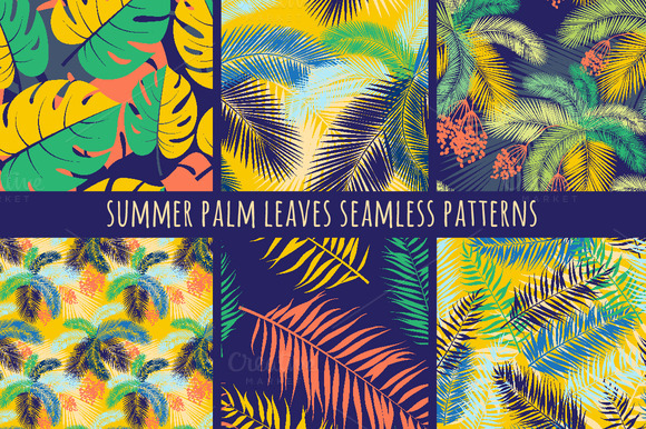 Set Of Seamless Palm Leaves Patterns