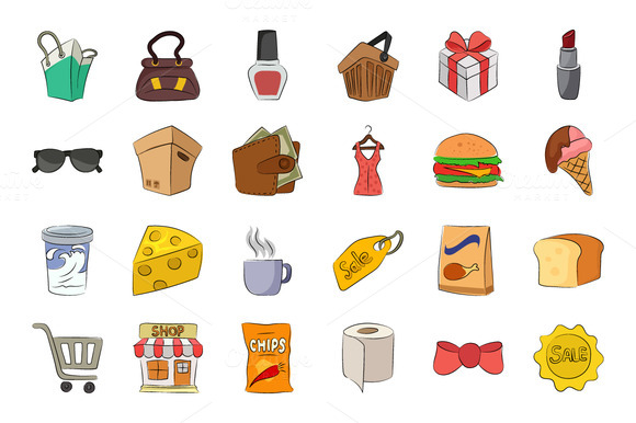 Shopping Hand Drawn Vector Icons
