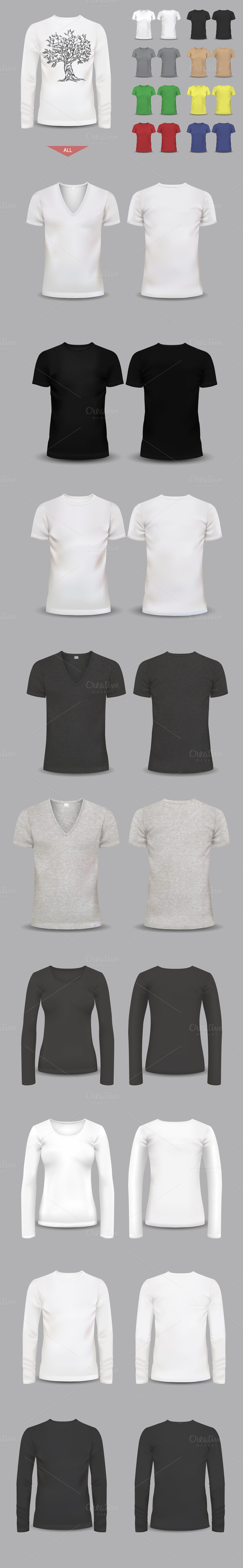 Big Set Of Male And Female T-shirts
