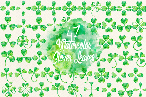 Watercolor Green Clover Leaves