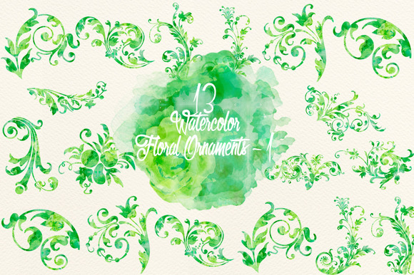 Watercolor Green Floral Ornaments