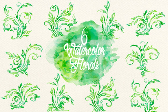 Watercolor Green Florals