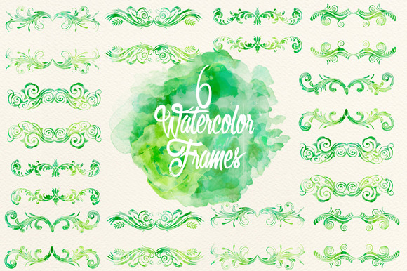 Watercolor Green Frames