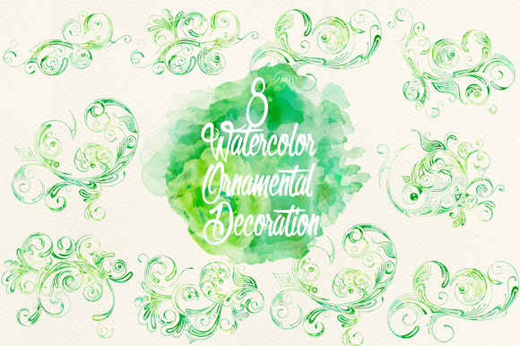 Watercolor Green Ornamental Decor
