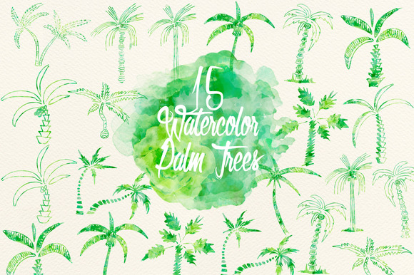 Watercolor Green Palm Trees