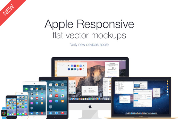 Apple Responsive Flat Vector Mockups