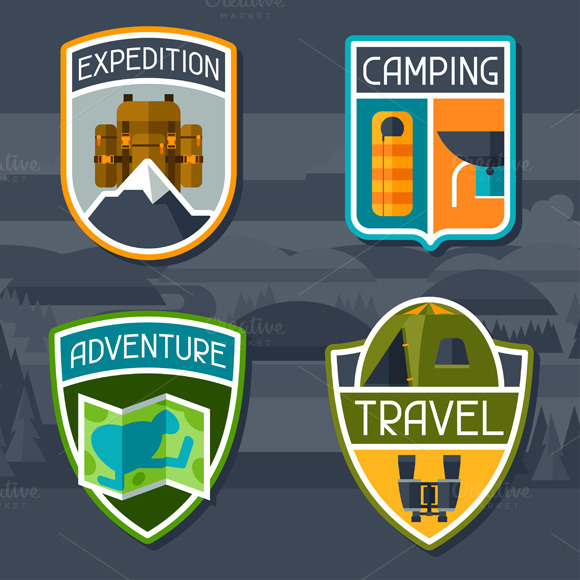 Set Of Tourist Camping Badges