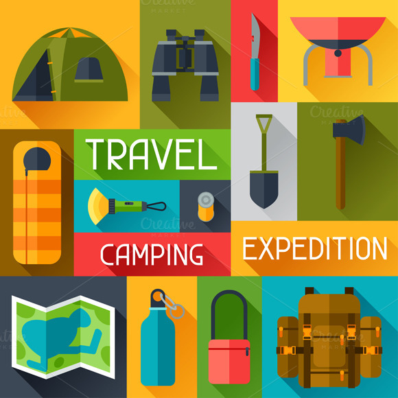 Backgrounds With Camping Equipment