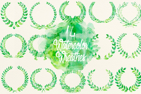 Watercolor Green Wreathes