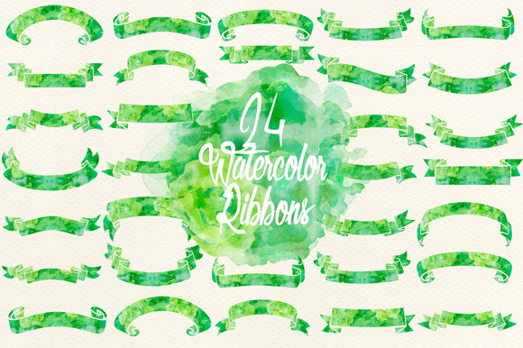 Watercolor Green Ribbons