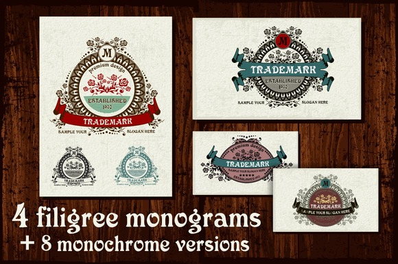 4 Filigree Monograms EPS
