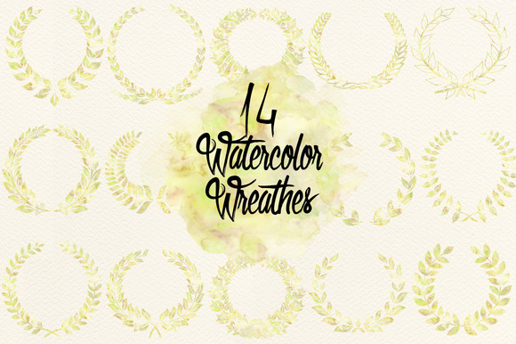 Watercolor Dull Green Wreathes