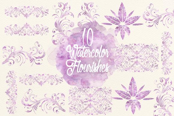 Watercolor Lavender Flourishes