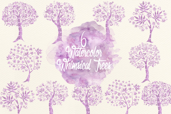 Watercolor Lavender Whimsical Trees
