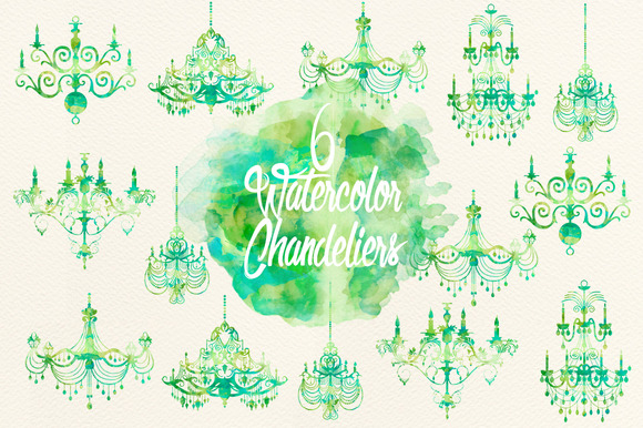 Watercolor Green Chandeliers