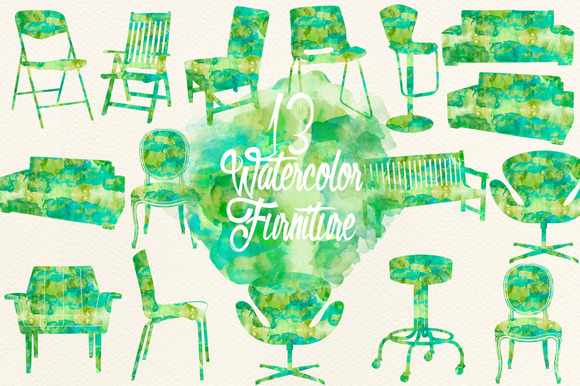 Watercolor Green Furniture